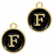 Metal charms letter F Gold(a little bit more Rose)-Black