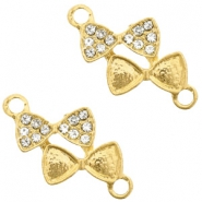 Metal rhinestone charms connector bow tie Gold