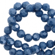 Round top faceted beads 4 mm Mazarine Blue-High Shine Coating