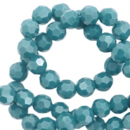 Round top faceted beads 8 mm Mosaic Blue-Pearl Shine Coating