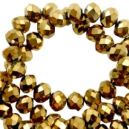 Top faceted beads 3x2mm disc Gold Metallic
