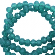 Top faceted beads 3x2mm disc Teal Green-Pearl Shine Coating