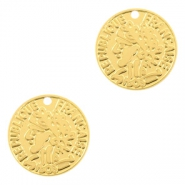 Bohemian charms coin 15mm Gold