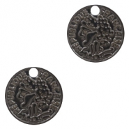 Bohemian charms coin 10mm Black