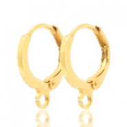 DQ European metal findings closable earrings with loop Gold (nickel free)