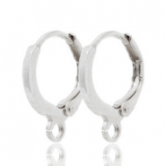 DQ European metal findings closable earrings with loop Silver (nickel free)