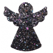 Faux leather pendants angel with glitter Black-blue