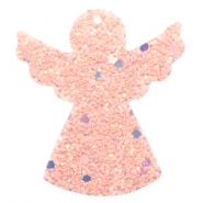 Faux leather pendants angel with glitter Pink