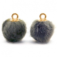 Pompom charms with loop faux fur 12mm Dark Grey-Gold