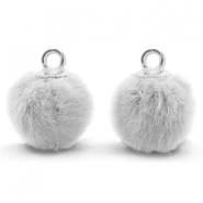 Pompom charms with loop faux fur 12mm Light Grey-Silver