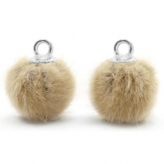 Pompom charms with loop faux fur 12mm Taupe Brown-Silver