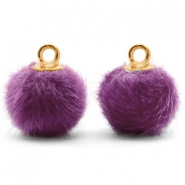 Pompom charms with loop faux fur 12mm Purple-Gold