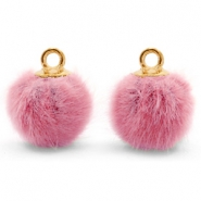 Pompom charms with loop faux fur 12mm Vintage Dark Pink-Gold