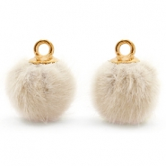 Pompom charms with loop faux fur 12mm Sand Beige-Gold