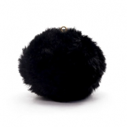 Pompom charms with loop  faux fur 3.5cm Black