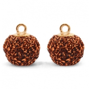 Pompom charms with loop glitter 12mm Copper-Gold