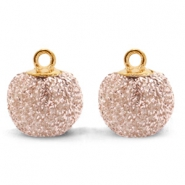 Pompom charms with loop glitter 12mm Vintage Pink-Gold