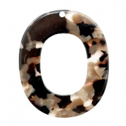 Resin pendants oval 48x40mm Mixed Brown