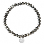 Sisa top faceted bracelets 6x4mm (stainless steel charm) Black-Amber Coating