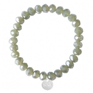 Sisa top faceted bracelets 8x6mm (stainless steel charm) Dark Khaki Green-Pearl Shine Coating