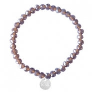 Sisa top faceted bracelets 6x4mm (stainless steel charm) Dark Grape Purple-Pearl Shine Coating