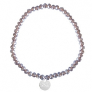 Sisa top faceted bracelets 4x3mm (stainless steel charm) Dark Grape Purple-Pearl Shine Coating