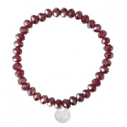Sisa top faceted bracelets 6x4mm (stainless steel charm) Burgundy Red-Pearl Shine Coating