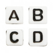 Acrylic letter beads mix White-Black