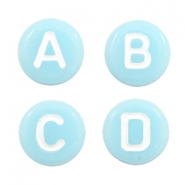 Acrylic letter beads mix Light Aqua Blue-White