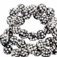 Rhinestone beads 6mm Black-Silver