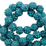 Rhinestone beads 8mm Teal Blue