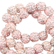 Rhinestone beads 10 mm Light Pink