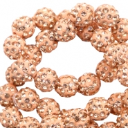 Rhinestone beads 6mm Peach