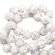 Rhinestone beads 8mm White-AB