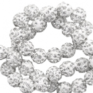 Rhinestone beads 10 mm White-Silver