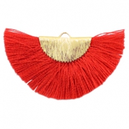 Tassels charm Gold-Ruby Red