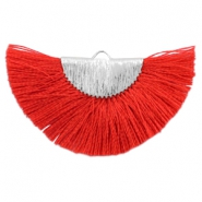 Tassels charm Silver-Ruby Red