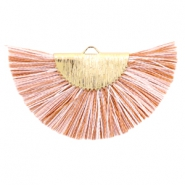 Tassels charm Gold-Light Brown White