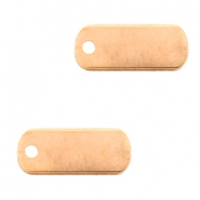 DQ European metal charms tag oblong 5x12mm Rose Gold (nickel free)