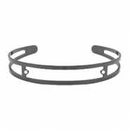 DQ European metal findings basic bracelet 9x60mm with two loops Silver anthracite (nickel free)