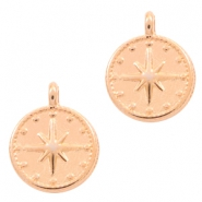 DQ European metal charms galaxy star round 12mm Rose Gold (nickel free)