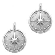 DQ European metal charms galaxy star round 12mm Antique Silver (nickel free)
