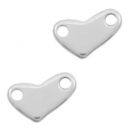 Stainless steel charms connector heart Silver