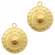 Metal charms coin 22mm Gold