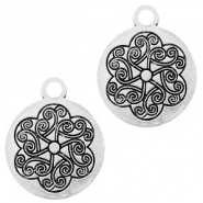 Metal charms coin 18mm Silver