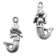Metal charms mermaid Antique Silver