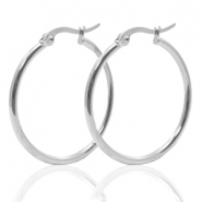 Stainless Steel earrings creole 40mm Silver