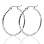 Stainless Steel earrings creole 30mm Silver