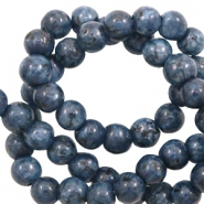 6 mm natural stone beads Blue Anthracite