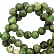 6 mm natural stone beads Forest Green